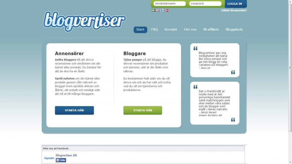 blogvertiser hemsida